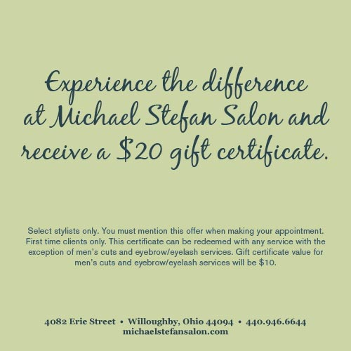 Experience the difference at Michael Stefan Salon and receive a $20 gift certificate!